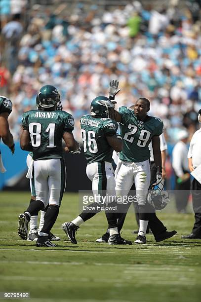 Running back LeSean McCoy of the Philadelphia Eagles congratulates teammate running back Brian Westbrook on a touchdown during the game against the...