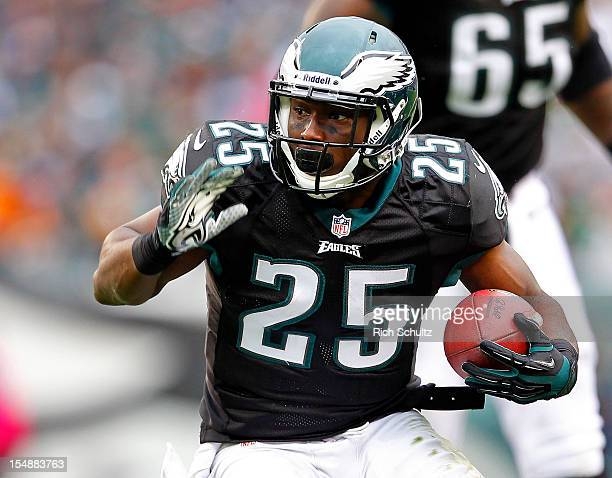 Running back LeSean McCoy of the Philadelphia Eagles looks for room to run against the Atlanta Falcons during the first half in a game at Lincoln...