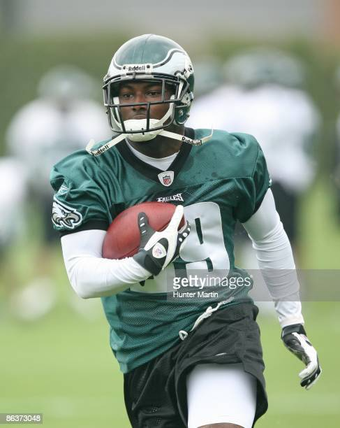 Running back LeSean McCoy of the Philadelphia Eagles runs the ball during minicamp practice at the NovaCare Complex on May 1 2009 in Philadelphia...