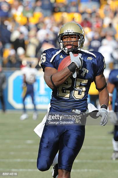 Running back LeSean McCoy of the University of Pittsburgh Panthers runs with the football during pregame warmup prior to a Big East Conference...