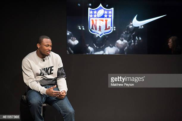 NFL running back LeSean McCoy speaks at the 2014 NFL Nike Silver Speed Collection Unveiling For Super Bowl XLVIII at Skylight Modern on January 9...