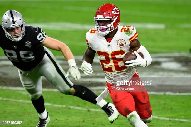 Running back Le'Veon Bell of the Kansas City Chiefs runs against the Las Vegas Raider in the second half of their game at Allegiant Stadium on...