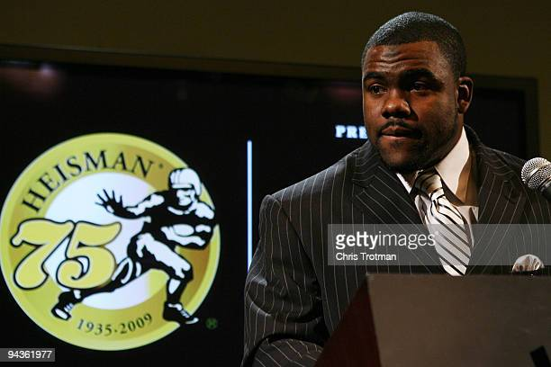 Running back Mark Ingram of the Alabama Crimson talks to the media during a press conference after being named the 75th Heisman Trophy winner at the...