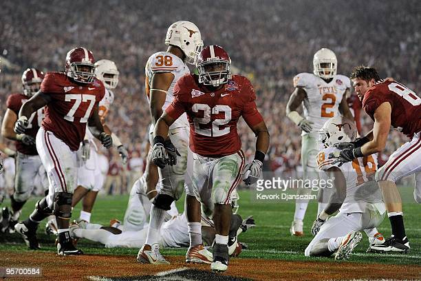 Running back Mark Ingram of the Alabama Crimson Tide celebrates after scoring in the fourth quarter against the Texas Longhorns during the Citi BCS...