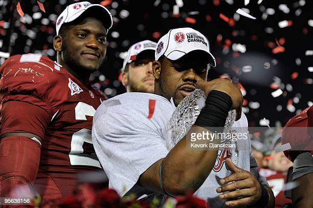 Running back Mark Ingram of the Alabama Crimson Tide celebrates with the BCS Championship trophy after winning the Citi BCS National Championship...