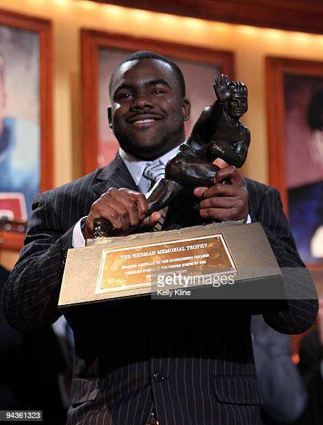Running back Mark Ingram of the Alabama Crimson Tide hoist the trophy after being named the 75th Heisman Trophy winner at the Nokia theater Times...