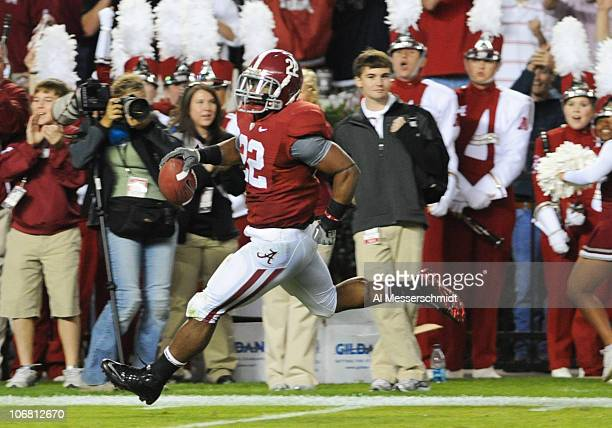 Running back Mark Ingram of the Alabama Crimson Tide runs 78 yards with a pass for a secondquarter touchdown against the Mississippi State Bulldogs...