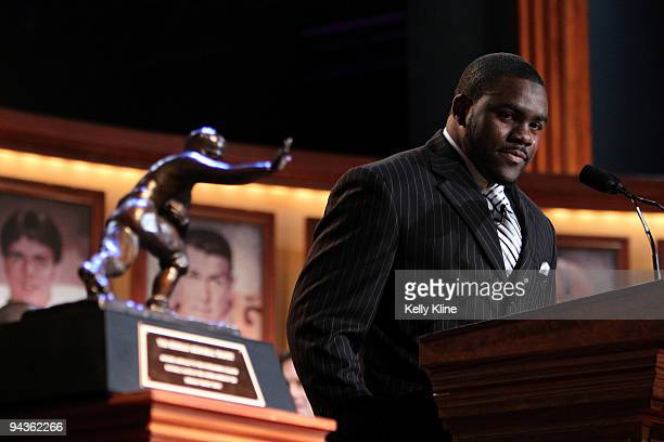 Running back Mark Ingram of the Alabama Crimson Tide speaks after being named the 75th Heisman Trophy winner at the Nokia theater Times Square on...