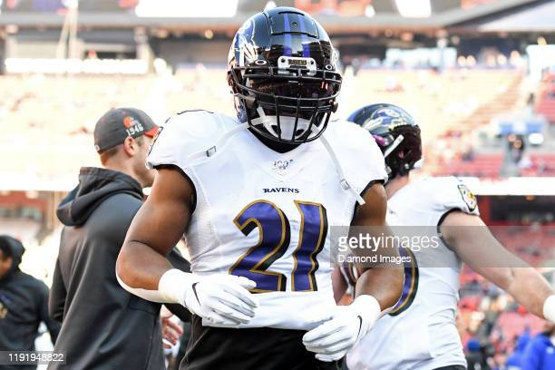 Running back Mark Ingram of the Baltimore Ravens runs off the field prior to a game against the Cleveland Browns on December 22, 2019 at FirstEnergy...