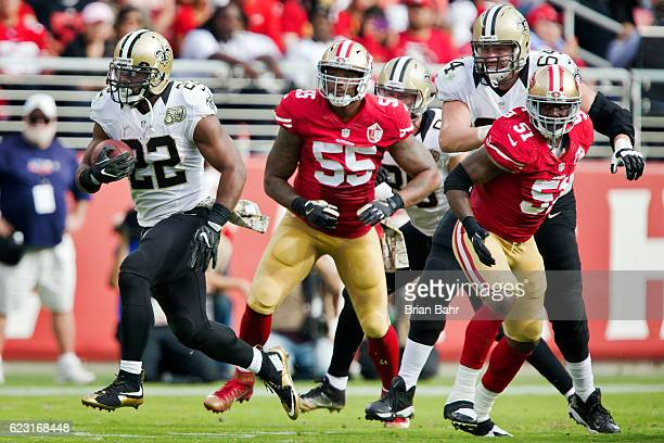 Running back Mark Ingram of the New Orleans Saints breaks free for a 75yard touchdown run against the San Francisco 49ers in the second quarter on...