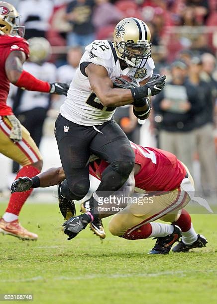 Running back Mark Ingram of the New Orleans Saints gains seven yards against the San Francisco 49ers ahead of the twominute warning on November 6...