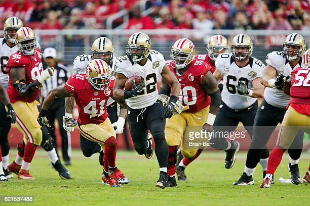 Running back Mark Ingram of the New Orleans Saints leads the San Francisco 49ers on a chase in the second half on November 6 2016 at Levi's Stadium...
