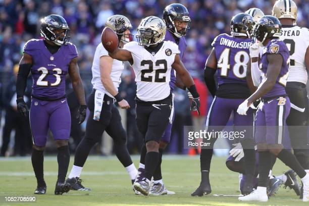 Running Back Mark Ingram of the New Orleans Saints reacts after a play in the first quarter against the Baltimore Ravens at MT Bank Stadium on...