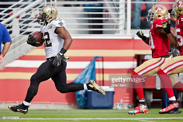 Running back Mark Ingram of the New Orleans Saints runs for a 75yard touchdown against the San Francisco 49ers in the second quarter on November 6...