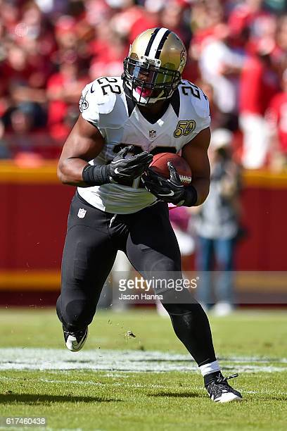 Running back Mark Ingram of the New Orleans Saints rushes the ball against the Kansas City Chiefs at Arrowhead Stadium during the first quarter of...