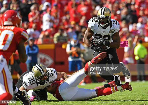 Running back Mark Ingram of the New Orleans Saints rushes up field against the Kansas City Chiefs during the second half on October 23 2016 at...