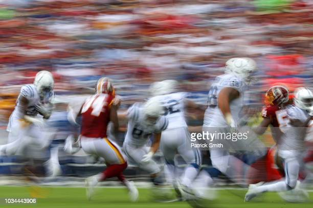Running back Marlon Mack of the Indianapolis Colts rushes against the Washington Redskins during the second half at FedExField on September 16 2018...