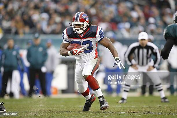 Running back Marshawn Lynch of the Buffalo Bills carries the ball during a game against the Philadelphia Eagles on December 30, 2007 at Lincoln...