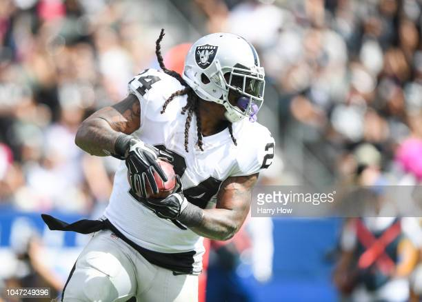 Running back Marshawn Lynch of the Oakland Raiders makes a catch in the second quarter against the Los Angeles Chargers at StubHub Center on October...