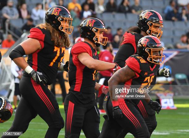 Running back Martez Carter of the LA Wildcats heads to the bench after a touchdown in the first half of the XFL game against the DC Defenders at...