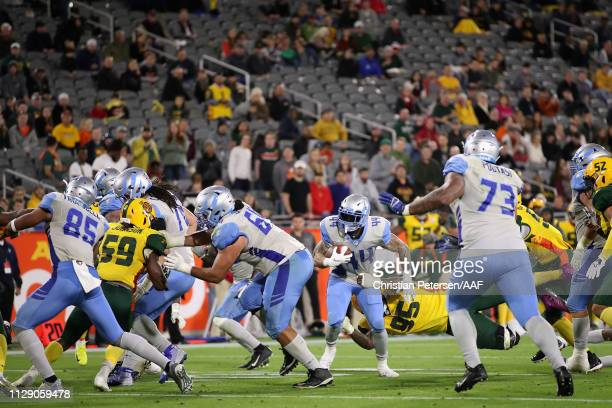 Running back Matt Asiata of the Salt Lake Stallions rushes the football against the Arizona Hotshots during the Alliance of American Football game at...