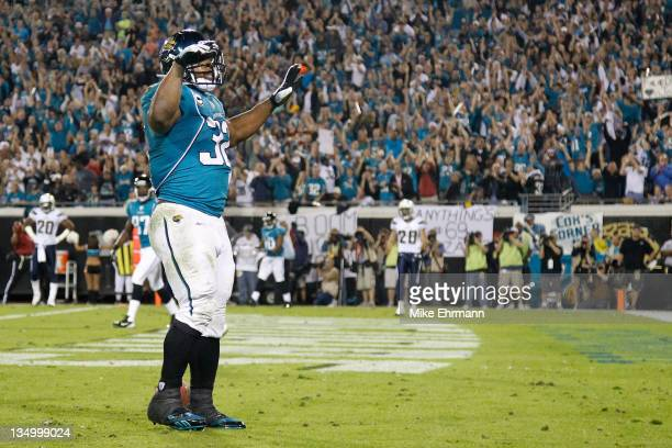 Running back Maurice JonesDrew of the Jacksonville Jaguars celebrates after scoring a touchdown in the second quarter against the San Diego Chargers...