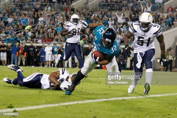Running back Maurice JonesDrew of the Jacksonville Jaguars scores a touchdown in the second quarter against the San Diego Chargers at EverBank Field...