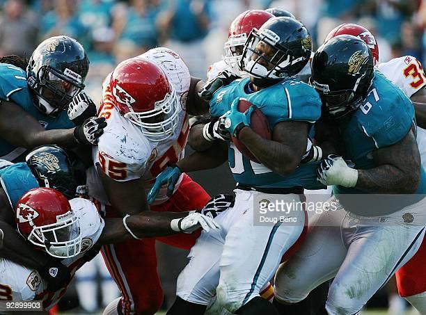 Running back Maurice Jones-Drew of the Jacksonville Jaguars scores a touchdown against the Kansas City Chiefs at Jacksonville Municipal Stadium on...