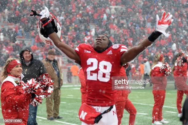 Running back Maurice Washington of the Nebraska Cornhuskers celebrates the win against the Michigan State Spartans at Memorial Stadium on November 17...