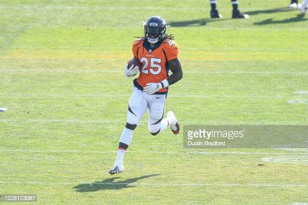 Running back Melvin Gordon of the Denver Broncos participates in a drill during a training session at UCHealth Training Center on August 20 2020 in...