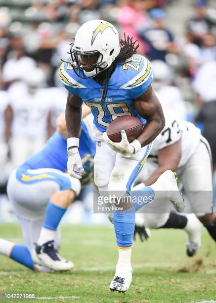 Running back Melvin Gordon of the Los Angeles Chargers carries the ball in the third quarter against the Oakland Raiders at StubHub Center on October...