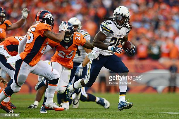 Running back Melvin Gordon of the San Diego Chargers carries the ball for 17 yards in the fourth quarter of the game against the Denver Broncos at...