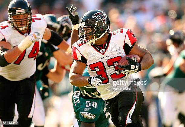 Running back Michael Turner of the Atlanta Falcons carries the ball during a game against the Philadelphia Eagles on October 26, 2008 at Lincoln...