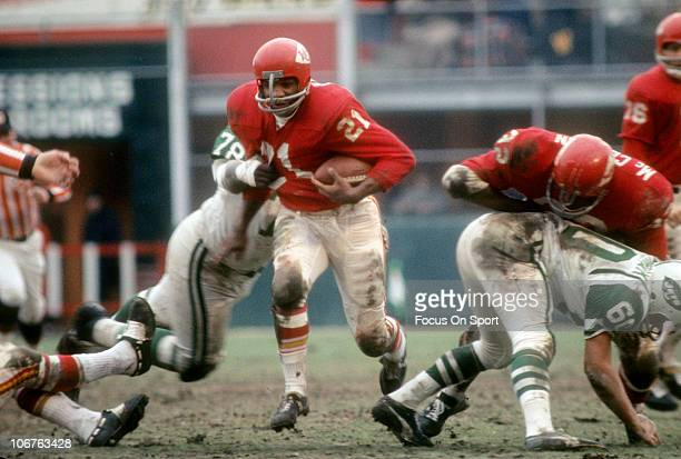 Running back Mike Garrett of the Kansas City Chiefs carries the ball against the New York Jets during an NFL football game at Shea Stadium circa 1967...