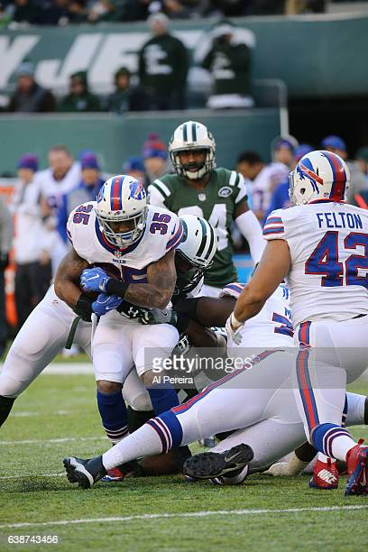 Running Back Mike Gillislee of the Buffalo Bills in action against the New York Jets at MetLife Stadium on January 1, 2017 in East Rutherford, New...