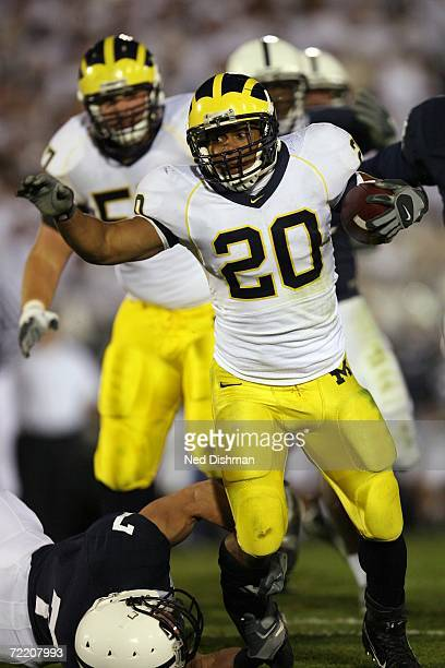 Running back Mike Hart of the University of Michigan Wolverines runs against the Penn State Nittany Lions at Beaver Stadium on October 14 2006 in...