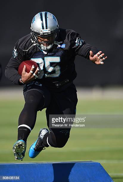 Running Back Mike Tolbert of the Carolina Panthers participates in drills during practice prior to Super Bowl 50 against the Denver Broncos at San...