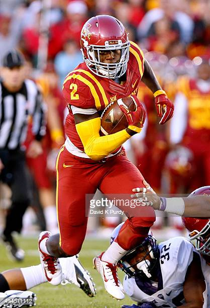 Running back Mike Warren of the Iowa State Cyclones rushes for yards in the first half of play against the TCU Horned Frogs at Jack Trice Stadium on...