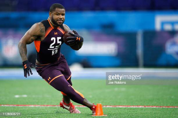 Running back Mike Weber of Ohio State works out during day two of the NFL Combine at Lucas Oil Stadium on March 1 2019 in Indianapolis Indiana