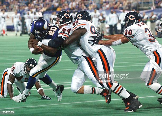 Running back Moe Williams of the Minnesota Vikings is kept out of the end zone by linebacker Brian Urlacher defensive end Alex Brown and safety Mike...