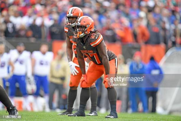 Running back Nick Chubb and running back Kareem Hunt of the Cleveland Browns line up during the first half against the Buffalo Bills at FirstEnergy...