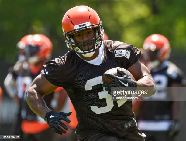 Running back Nick Chubb of the Cleveland Browns carries the ball during an OTA practice at the Cleveland Browns training facility in Berea Ohio