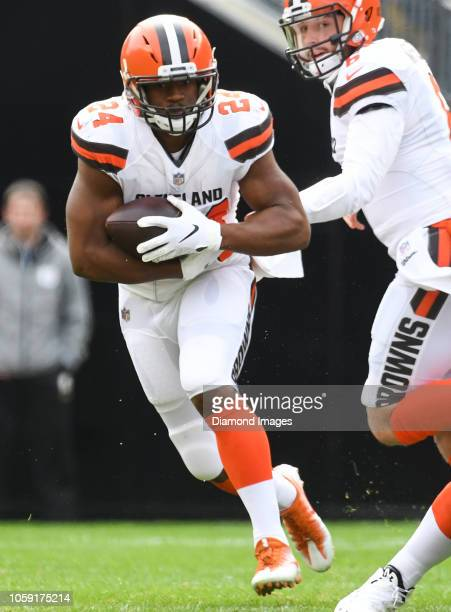 Running back Nick Chubb of the Cleveland Browns carries the ball in the first quarter of a game against the Pittsburgh Steelers on October 28 2018 at...