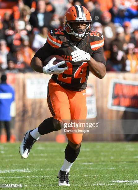 Running back Nick Chubb of the Cleveland Browns carries the ball in the first quarter of a game against the Atlanta Falcons on November 11 2018 at...