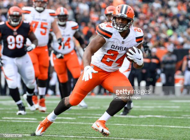 Running back Nick Chubb of the Cleveland Browns carries the ball in the first quarter of a game against the Cincinnati Bengals on November 25 2018 at...
