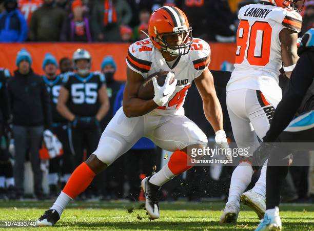 Running back Nick Chubb of the Cleveland Browns carries the ball in the first quarter a game against the Carolina Panthers on December 9 2018 at...