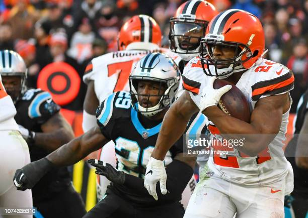 Running back Nick Chubb of the Cleveland Browns carries the ball in the fourth quarter of a game against the Carolina Panthers on December 9 2018 at...