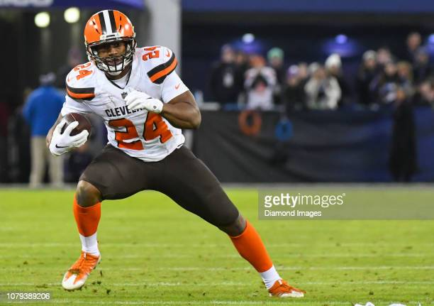 Running back Nick Chubb of the Cleveland Browns carries the ball in the third quarter of a game against the Baltimore Ravens on December 30 2018 at...