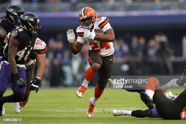 Running Back Nick Chubb of the Cleveland Browns carries the ball in the first quarter against the Baltimore Ravens at MT Bank Stadium on December 30...