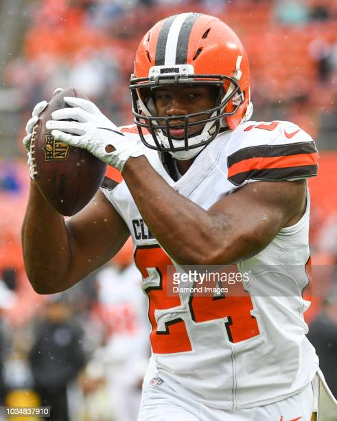 Running back Nick Chubb of the Cleveland Browns carries the ball prior to a game against the Pittsburgh Steelers on September 9 2018 at FirstEnergy...